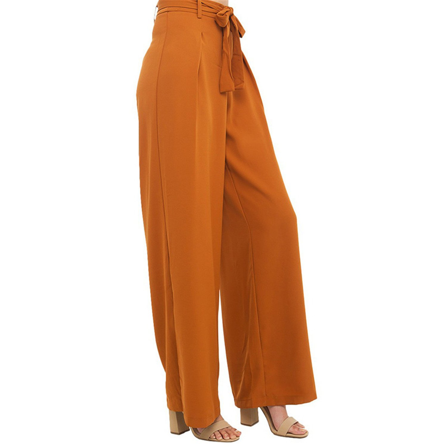 Willie Marlow Womens Orange Empire Waist Wide Leg Pant Elegant Comfort Lace-up Trousers Loose Casual Drawstring Pleated Pants