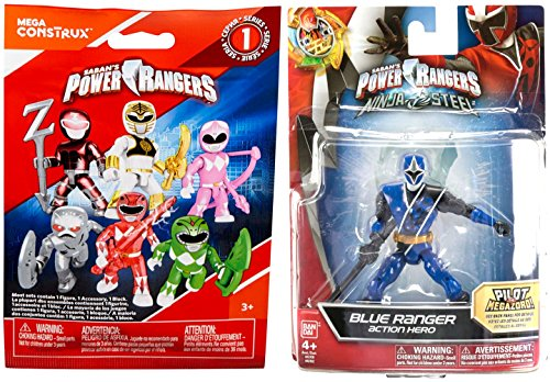 Power Rangers Saban's Ninja Steel Edition with Battle Gear 5-Inch Blue Ranger Action Hero Figure + Bonus Blind Bag Buildable Mini Figure & - Rangers Clubhouse