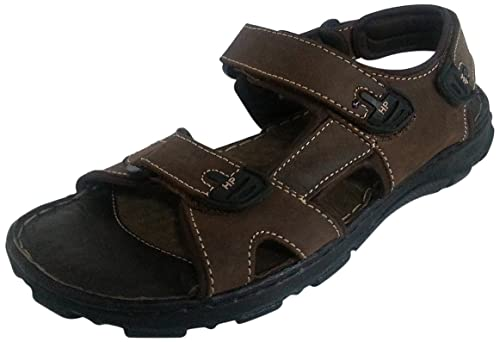 37f469d57bd01d Hush Puppies Men s Simon Brown Leather Athletic   Outdoor Sandals - 10  UK India (