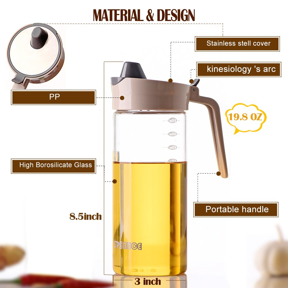 Drip Free Olive Oil Dispenser, Glass Salad Dressing Bottle, Vinegar Dispensing Cruets, Cooking Oil Condiment Containers with Measurement and Easy Pouring Spout for Kitchen by Marbrasse (Beige) by Marbrasse (Image #2)