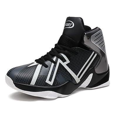 LFEU Chaussure de Basketball Pour Homme Basket Basket Sport Pied Large Mesh  Cuir Sneakers Haute Imperméable 458baf707293