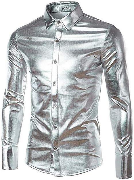 Biddtle Camisa De Hombre Metallic Shirt Nightclub Estilos Manga Larga Botón Abajo Camisas Shiny Slim Fit para Danza Concierto Partido Navidad Partido Cosplay,Plata,2XL: Amazon.es: Deportes y aire libre
