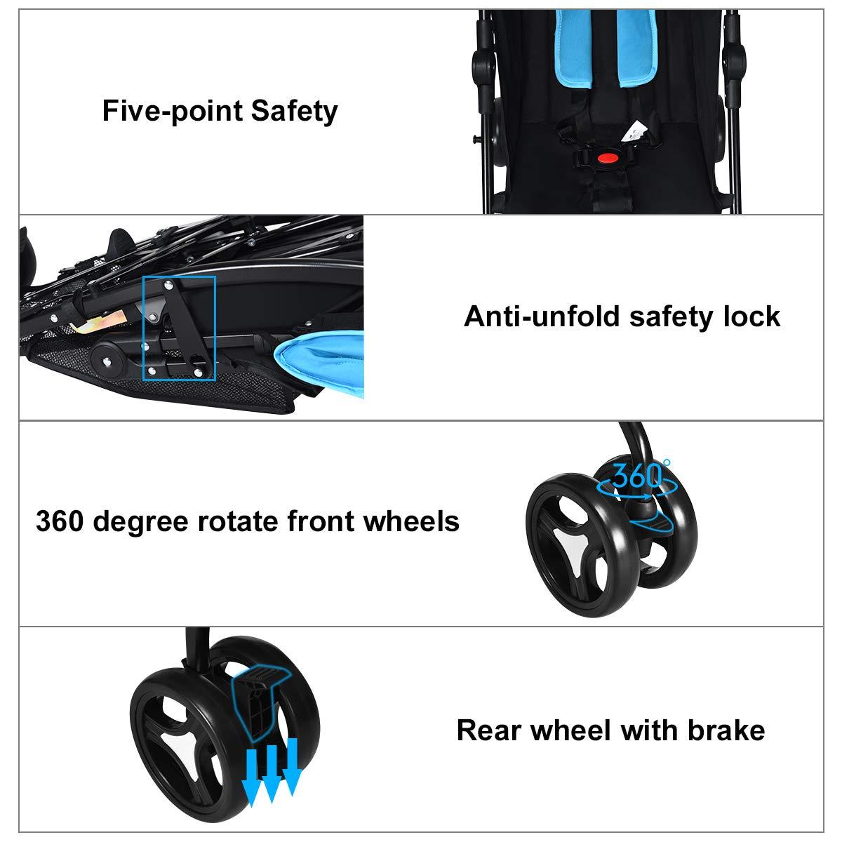 Storage Basket UV Protection Canopy 4 Position Recline Cup Holder Adjustable Backrest Foldable Infant Travel Stroller with Carry Belt INFANS Lightweight Baby Umbrella Stroller Dark Grey