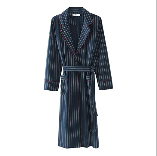 DAFREW Albornoz de algodón de Manga Larga, Pijama de Hombre, Albornoz cómodo y Transpirable, Albornoz (Color : Azul, Tamaño : L): Amazon.es: Jardín