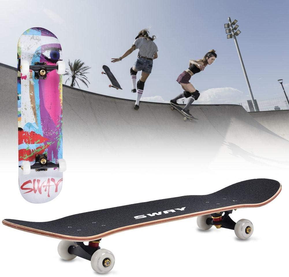 Tbest Street Skateboard Anruf Allrad Adult Skateboard High-Rebound Ahornholz Skateboard