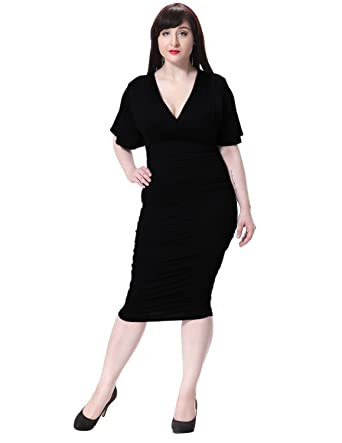 Amazon Suejoe Womens Bodycon Dress Wrap V Neck Ruched Knee