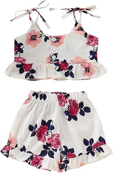 Amazon Com Conjunto De Ropa Con Volantes Para Nina Pequena Pantalones Cortos Con Fondo De Campana 2 Piezas Clothing
