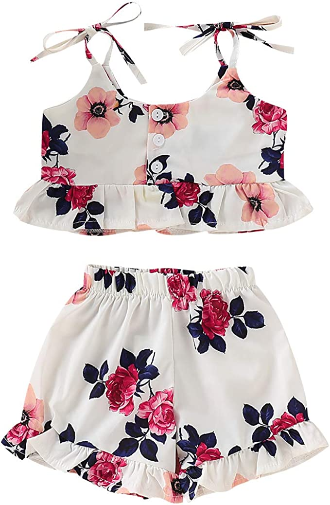 Kids Girl Outfit Clothing Ruffled Tank Top Floral Ball Tassels Pants 2pcs
