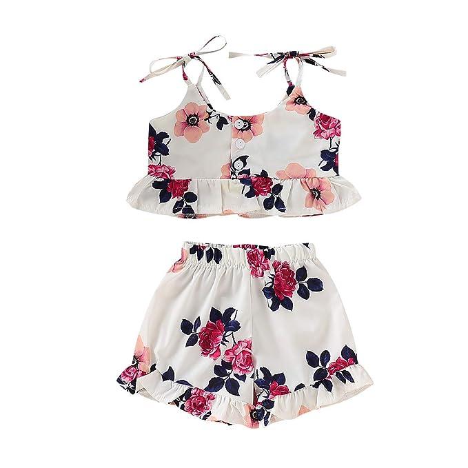 f049b62de8a53 Toddler Baby Girl Floral Halter Ruffled Outfits Set Strap Crop Tops+Short  Pants 2 PCS Clothes Set