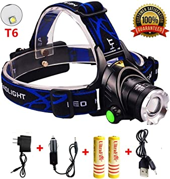 LED Rechargeable Headlamp 3 Modes Head Light with Zoomable Headlight Flashlight and Adjustable Headband Waterproof Hard Hat Light Headlamps Head Lamps for Adults Kids HUNLEE 1200 Lumen Head Lamp