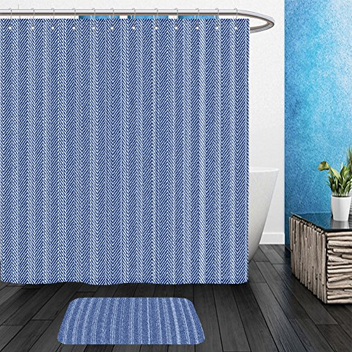 Adhesive Back Polyester Fabric Sheets (Vanfan Bathroom 2Suits 1 Shower Curtains & 1 Floor Mats abstract subtle washed blue denim fabric herringbone textured background seamless pattern vector 272821979 From Bath room)