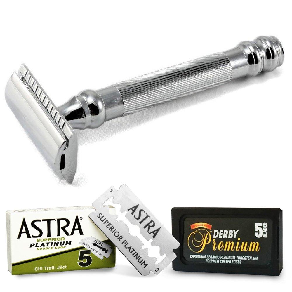 Maquinilla de afeitar Parker 98r Heavy Duty con 5 cuchillas de afeitar Astra y 5 hojas de afeitado Derby Premium Black: Amazon.es: Salud y cuidado personal