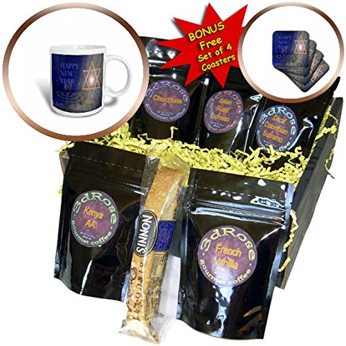 3dRose Jewish Themes - Image of Bright Mogen David With Menorah and Happy New Year - Coffee Gift Baskets - Coffee Gift Basket ()