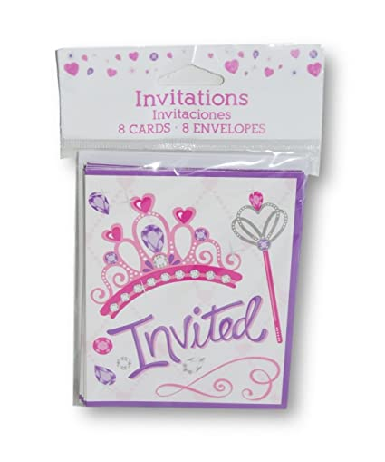 Amazon Com Princess Tiara Party Invitations 8 Cards And Envelopes