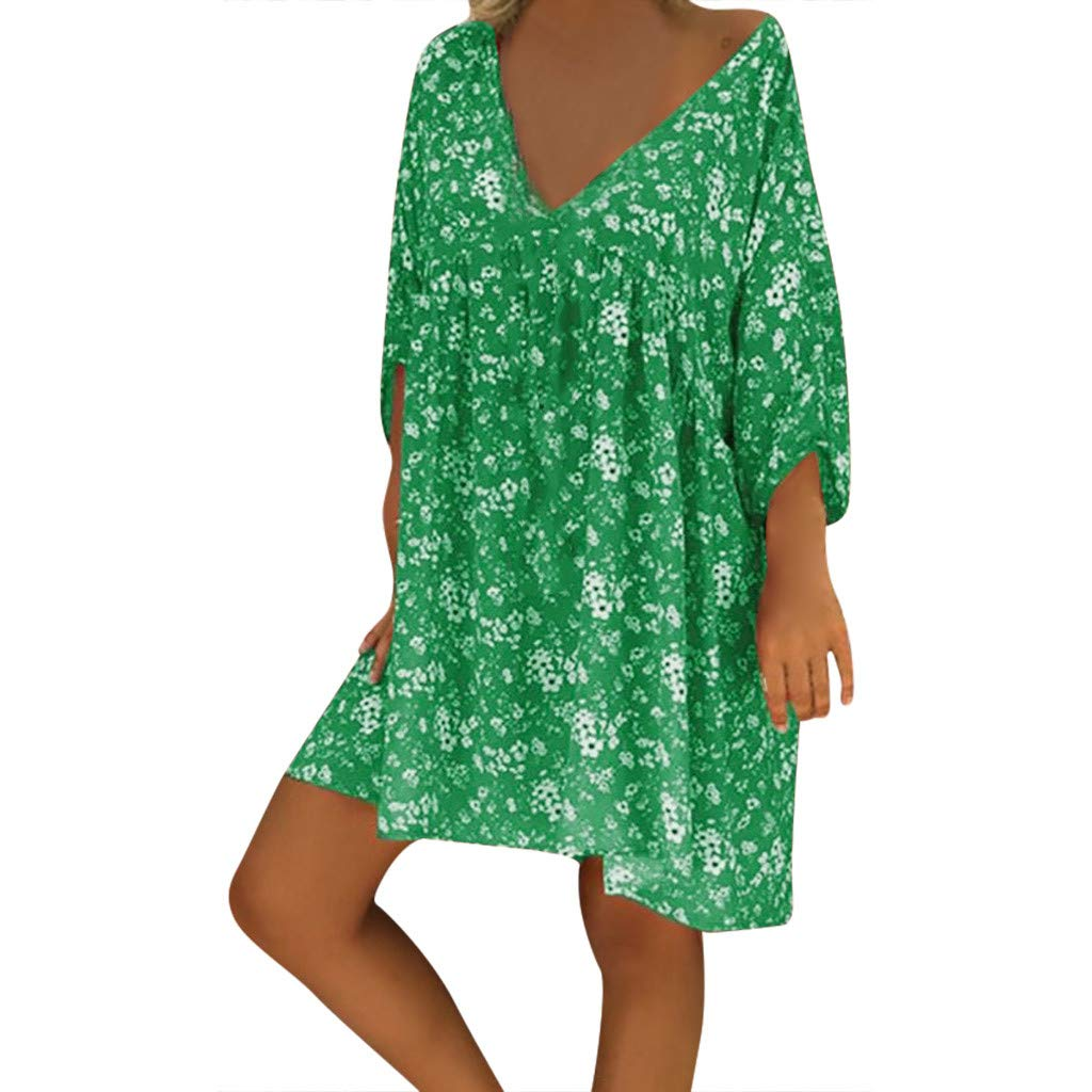 Forthery-Women T Shirt Dress Plus Size Floral Boho Summer Beach Swing Dress Sundress(Green,Small)