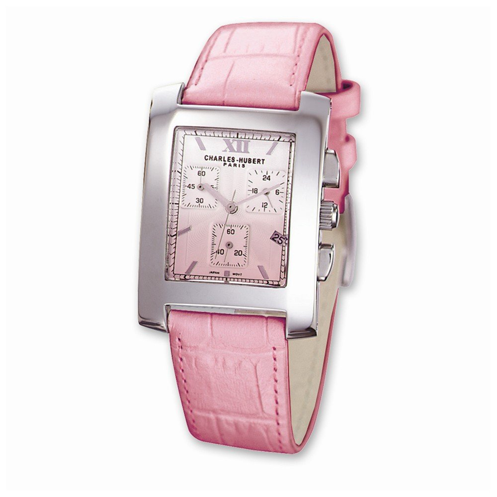 Top 10 Jewelry Gift Ladies Charles Hubert Pink Leather 30x34mm Dial Chronograph Watch by Jewelry Brothers Gifts