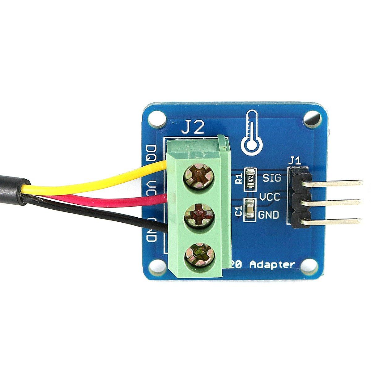 Waterproof DS18B20 Digital Temperature Sensor and DS18B20 Adapter ...