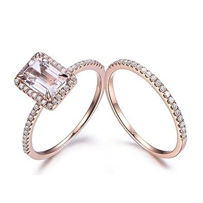 Amazon.com: Rosa Morganite Diamond Halo Claw Anillo de ...