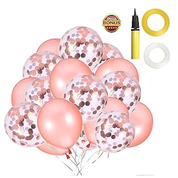 Fiesta de cumpleaños de globos de confeti de oro rosa Favores, 30 piezas 12 pulgadas