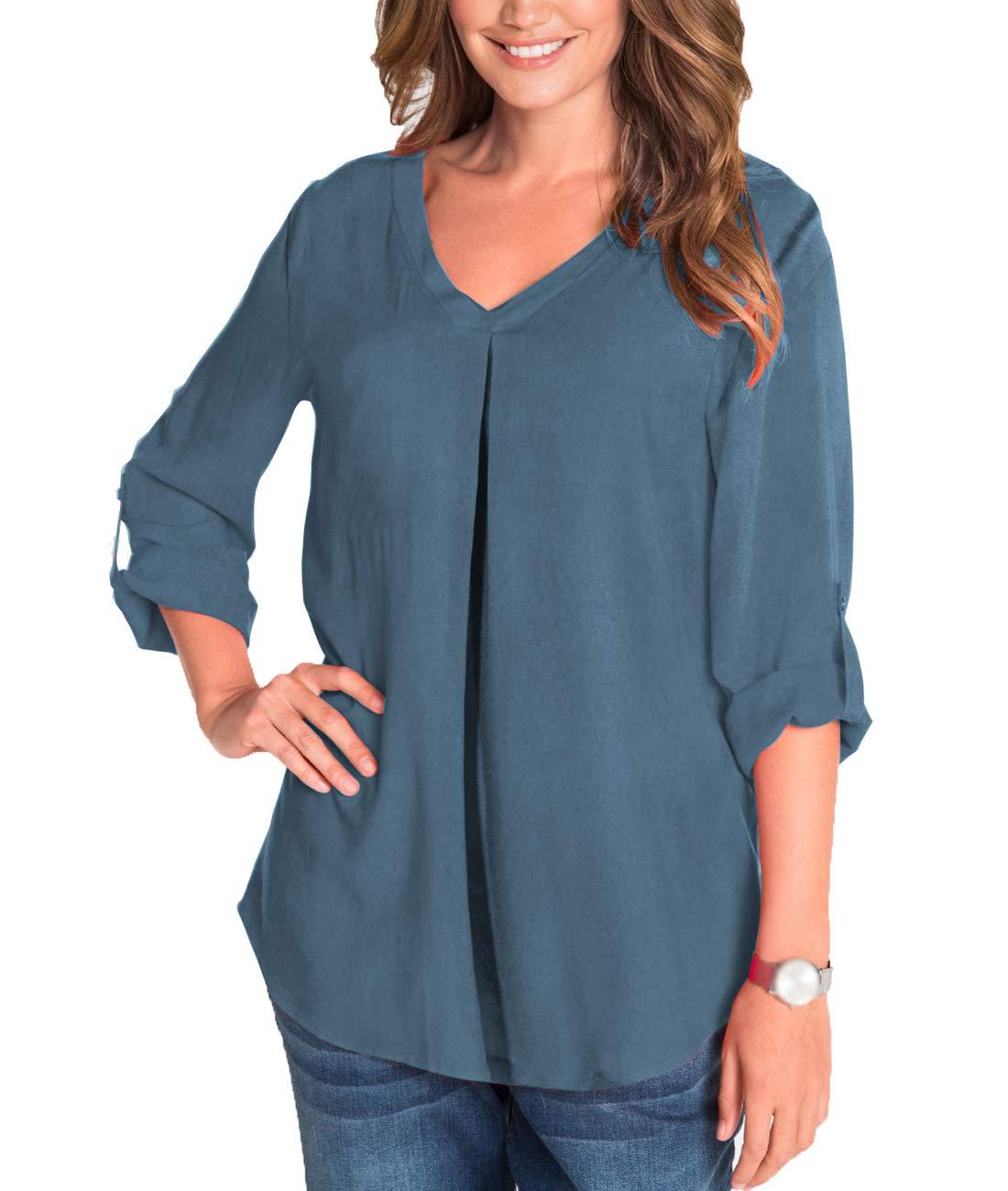 Fleasee dam blus v-ringad långärmad tröja 3/4 ärm chiffong tunika lösa toppar toppar blå grå