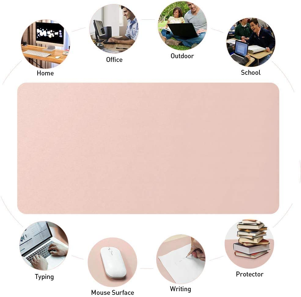 Pu Leather Desk Blotter Office Desk Mat Writing Gaming Mouse Pad with Comfortable Writing Surface Waterproof-Mint Green Gray 130x65cm 51x26inch