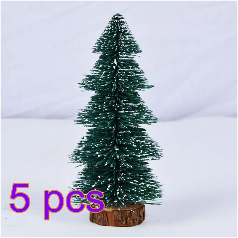 5 x Christmas Spruce Trees With Wooden Stand Green 2 Assorted Size Decor Crafts