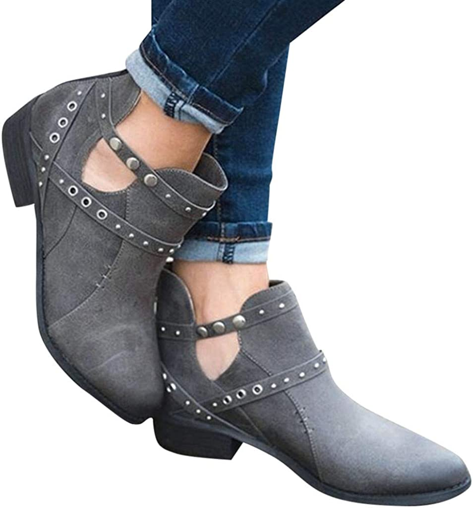 Nevera Boots for Women Low Heel Western Pointed Toe Solid Color Cut Out Ankle Booties Gray