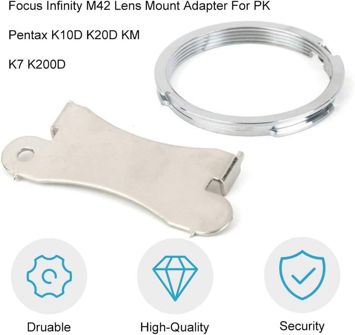 Jullynice Profession Silver Lens Adapter Ring Focus Infinity M42 Lens Mount Adapter for PK for Pentax K10D K20D KM K7 K200D