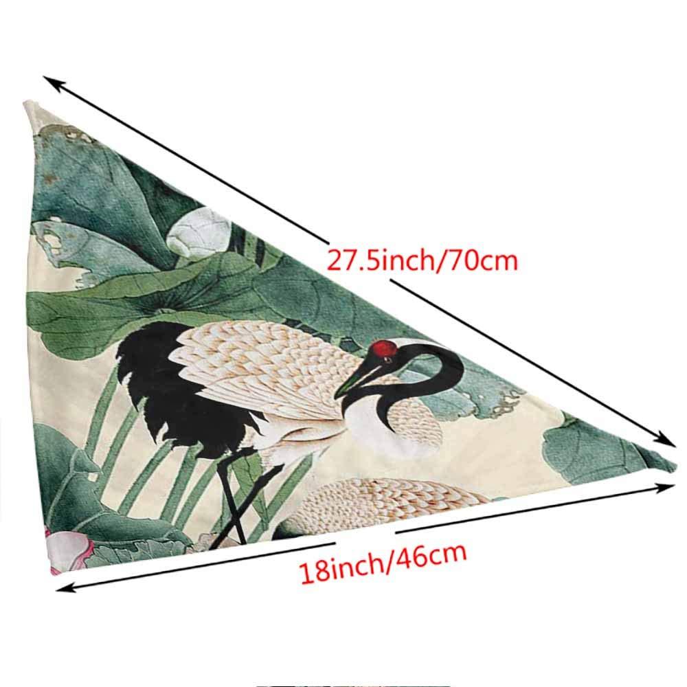 Printing Kerchief Collar Accessories Neckerchief,Size:side-18x18 length-27.5 Fashion Dog Bibs Dog Bandana Scarf Crane Bird 3D Printing