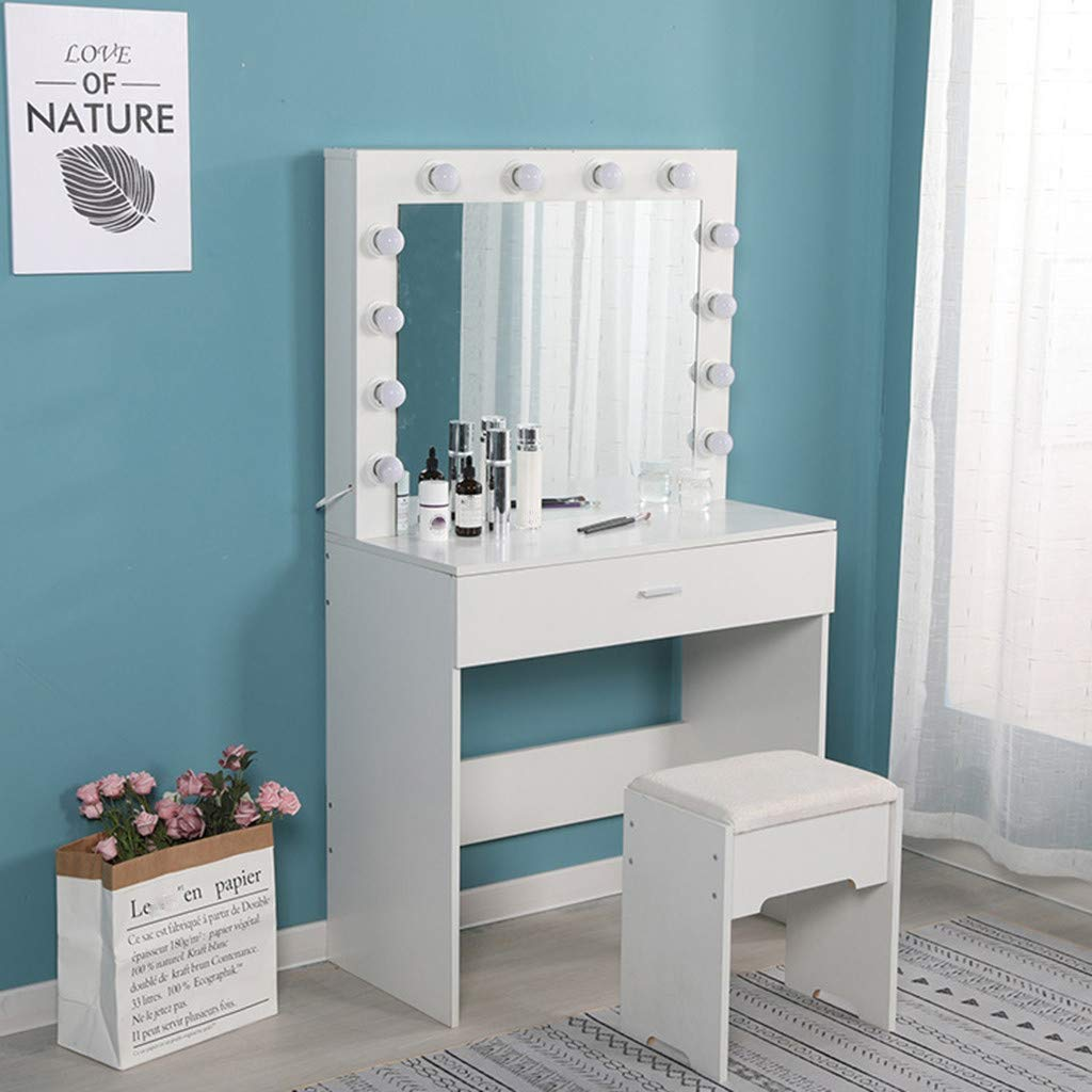 Large Vanity Makeup Mirror with Lights, Makeup Vanity Dressing Table Dresser Desk with Large Drawer, Detachable 10X Magnification Hollywood Mirror, Sent from USA (White)