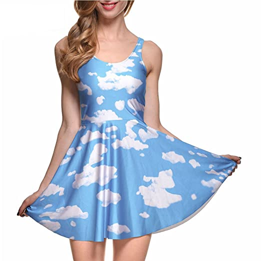 Image Unavailable. Image not available for. Color  Women The Cloud Print  Blue Skater Dress 6a6706146