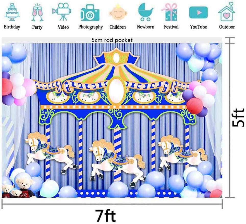 EARVO Background 7x5ft Cartoon Carousel Backdrop Balloons Photography Background Baby Birthday Party Dessert Table Decoration Polyester Backdrop Studio Video Props EALS507