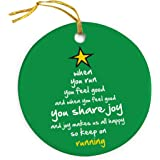 When You Run (Christmas Tree) Ornament | Running Porcelain Ornaments by Gone For a Run | Green