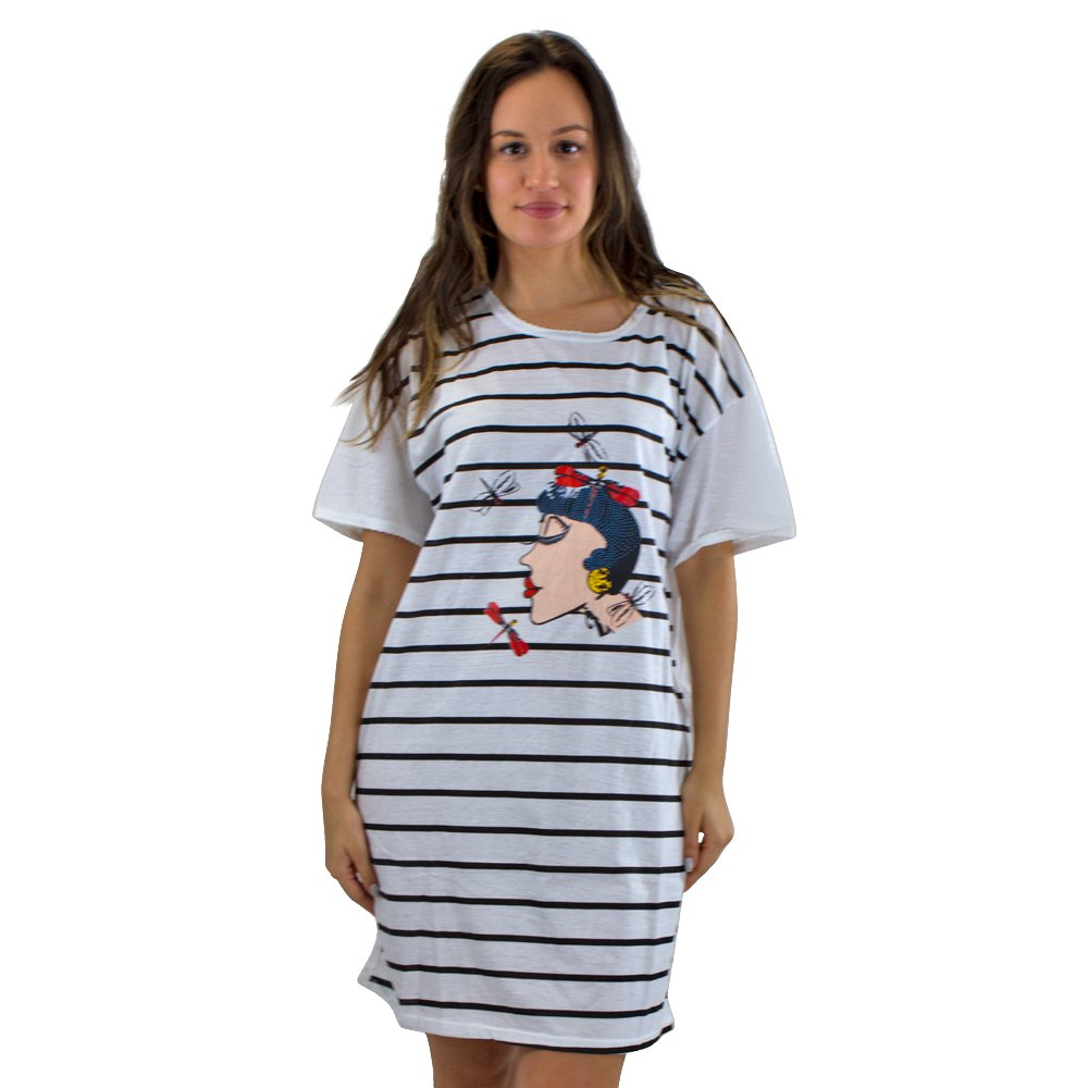 Real Essentials #5004 1 Pack:Short Sleeve Nightshirt/Nightgown Black & White Striped Lady - ONE Size FITS All