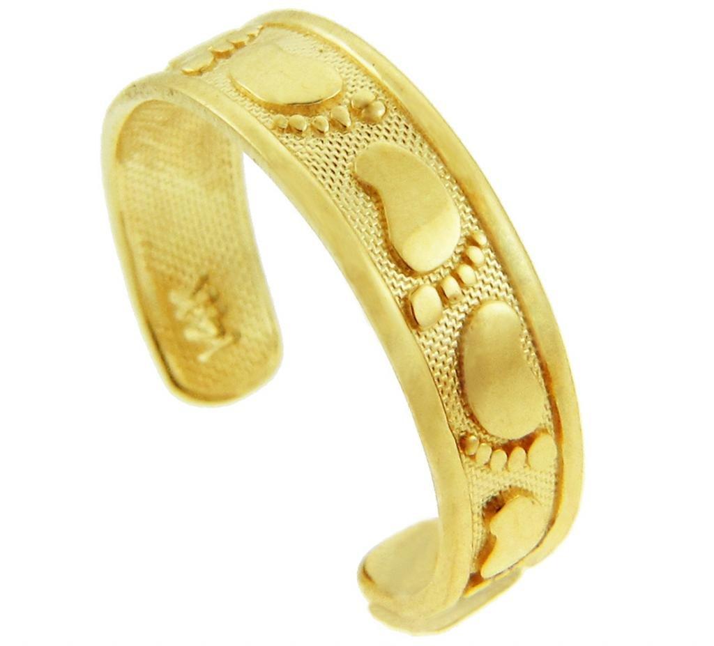 Classy Footprint Yellow Gold Toe Ring (10K Gold)