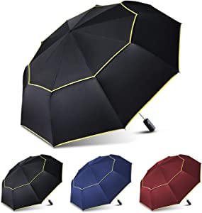 TOPX Windproof Travel Umbrella Men & Women 48.4inch Large Compact Folding Auto Open/Close Umbrella Gift Choice