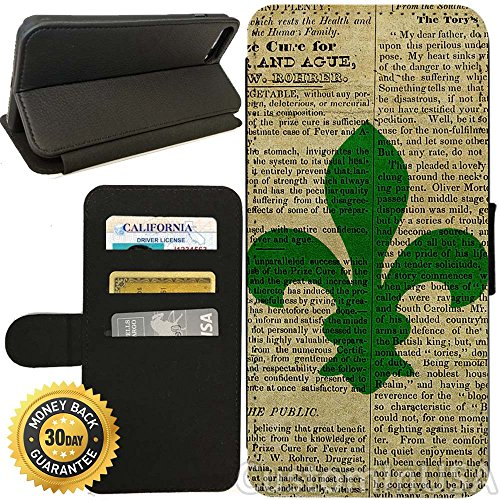 Green Newspaper Holder (Flip Wallet Case for iPhone 7 (Vintage Teal Fleur de Lis Newspaper) with Adjustable Stand and 3 Card Holders | Shock Protection | Lightweight | by Innosub)