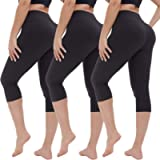 Gayhay High Waisted Capri Leggings for Women - 3 Pack Soft Tummy Control Pants for Running Cycling Yoga Workout