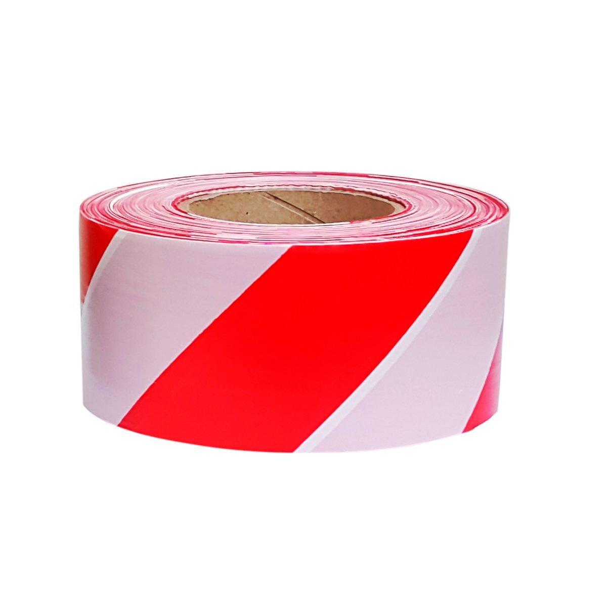 2 x Professional Barrier Hazard Safety Warning Tape Red /& White 70mm x 500m