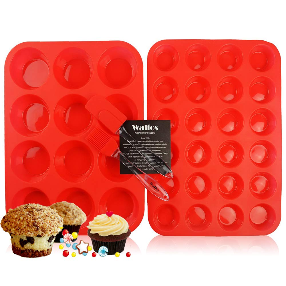 Walfos Reusable BPA Free Silicone Muffin & Cupcake Baking Pan Set (12 cup Regular Size & 24 Mini Cup Sizes) / Non Stick cake molds / Dishwasher - Microwave Safe (Red)