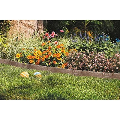 Suncast Border Stone Edging for Garden Landscaping, BROWN