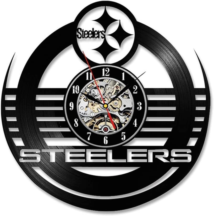 Vinyl Record Wall Clock Compatible with Steelers Design Home Decor - Bedroom Wall Clock Steelers Design Wall Art Decoration Gifts for Adults