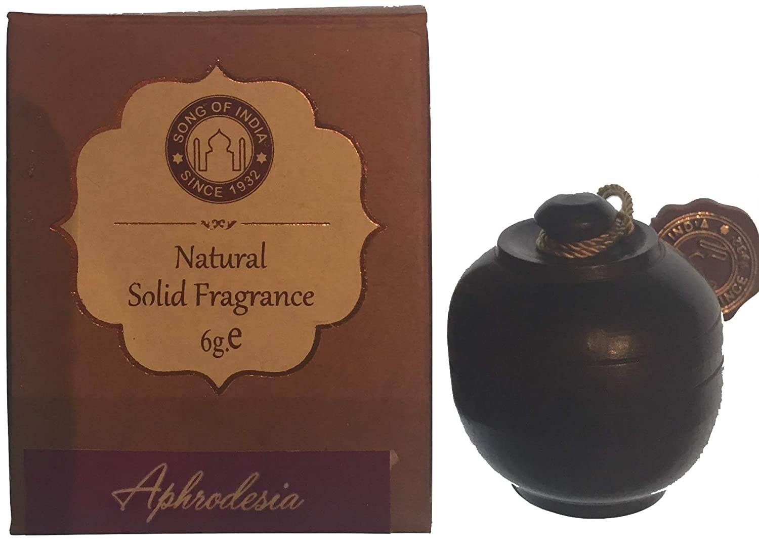 Song of India Solid Perfume in Hand-Carved Rosewood Jar with Screw-on Top (Aphrodesia)