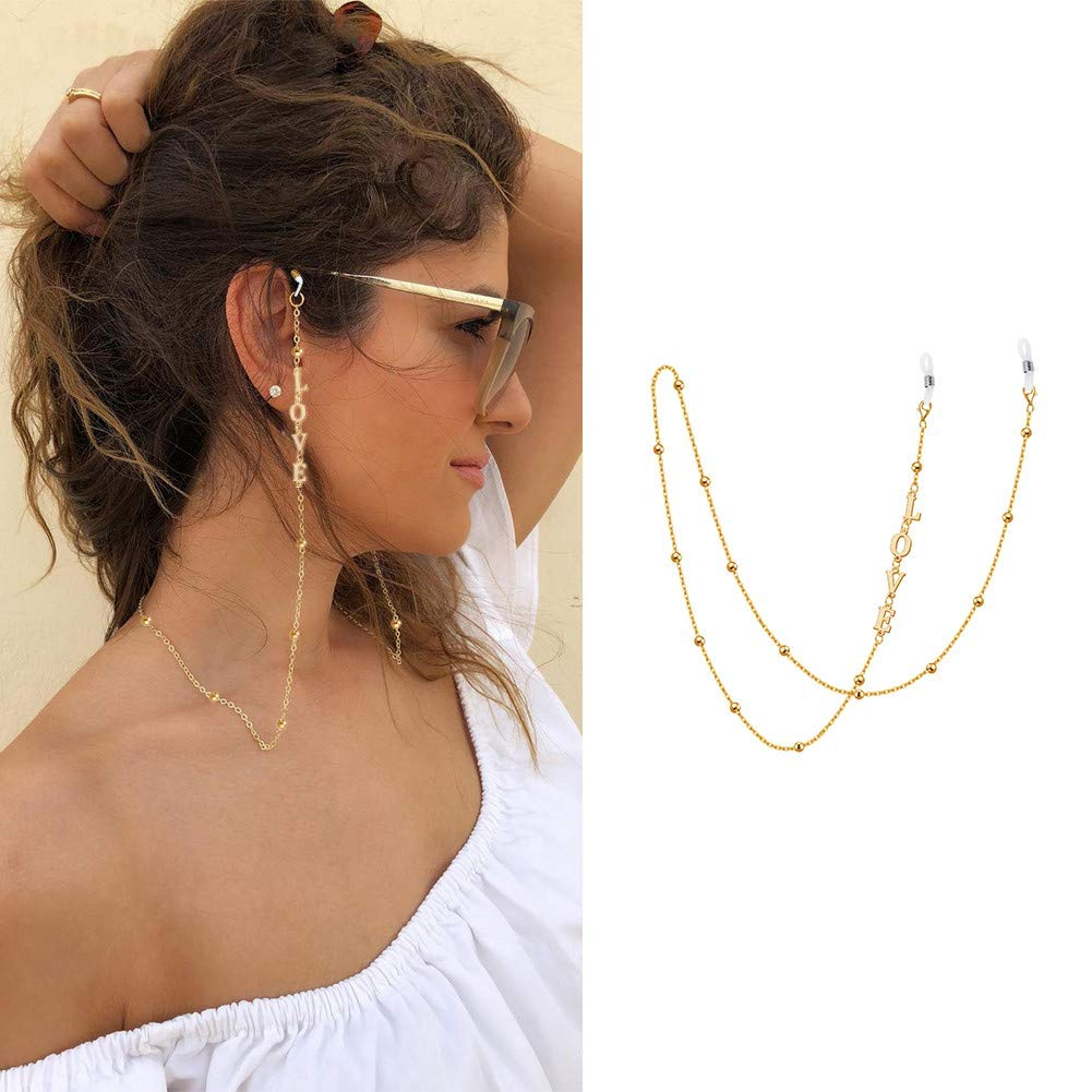 Handmade Mask Neck Strap with Cable Bead Chain Glasses Strap for Women 24 Inches 18K Gold Plated Personalized Mask Chain