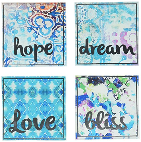 Tracy Porter Square Coasters (Set of 4), Blue ()