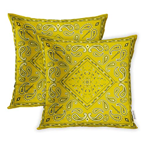 Set of 2 Throw Pillow Cover Cushion Case Decorative 16 x16 Inch Colorful Bandanna Yellow Bandana Border Floral Paisley Scarf Artistic Black Pillowcase Two Sides Print Covers,18