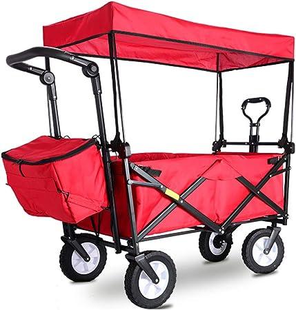 XYYZX Carrito Plegable Carretillas de Jardín Playa de Carro Carrito Plegable Carro Plegable Carretilla para Exterior de Transporte Carrito para excursiones,Rojo: Amazon.es: Hogar