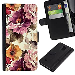 Billetera de Cuero Caso Titular de la tarjeta Carcasa Funda para Samsung Galaxy Note 4 SM-N910 / Vintage Vignette Sunshine / STRONG