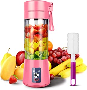 YKSINX Portable Blender, YKSINX Smoothie Juicer Cup, Personal Mini Blender for Smoothies, Shakes- Six Blades in 3D, 380ml, 13oz 2000mAh Powerful USB Rechargeable Travel Handheld Fruit Juicer (Pink)