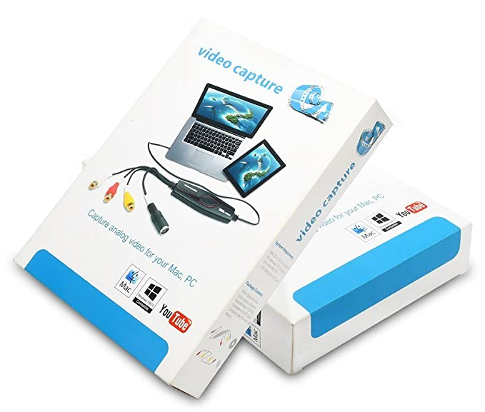 DIGITNOW! Convertidor de captura de vídeo USB, VHS a DVD Digital Grabber Grabador , Capturadora Digitalizadora de vídeo para Mac Windows